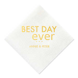 Personalized White Luncheon Napkin with Shiny 18 Kt Gold Foil will make your guests swoon. Personalize your party's theme today.