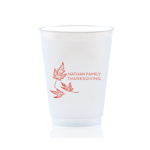 Custom 9 oz Frost Flex Cup with Matte Poppy Ink Cup Ink Colors has a Three Leaves graphic and is good for use in Holiday and Thanksgiving themed parties and can't be beat. Showcase your style in every detail of your party's theme!
