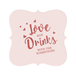 Love And Drinks Heart Coaster