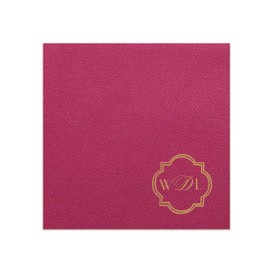 Our beautiful custom Magenta Linen Like Dinner Napkin with Satin 18 Kt. Gold Foil has a Ornate Frame 3 graphic and is good for use in Art Deco themed parties and can't be beat. Showcase your style in every detail of your party's theme!