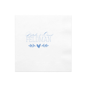 Both trendy and traditional, this classic White napkin pairs our hand-lettered heart branch graphic with a beautiful script font, perfect for weddings and engagement parties. Personalize with your name, and dress up your bar, tabletops and dessert table with napkins customized just for you.