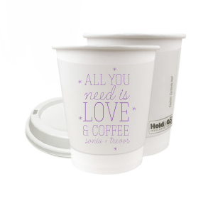 ForYourParty's personalized Matte Amethyst Ink 8 oz Paper Coffee Cup with Lid with Matte Amethyst Ink Cup Ink Colors can't be beat. Showcase your style in every detail of your party's theme!