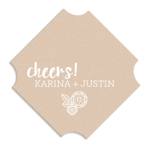 Cheers to the happy couple! Customize this deco coaster, and create a detail both you and guests will love. Add your wedding theme colors and names to our modern Flower graphic for a bar and table accessory fitting for an engagement party, couples shower or wedding reception.