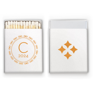 Personalized Stardream Crystal White Riviera Matchbox with Shiny Copper Foil has a Diamond Wreath graphic and is good for use in Aztec, Indie themed parties and will give your party the personalized touch every host desires.