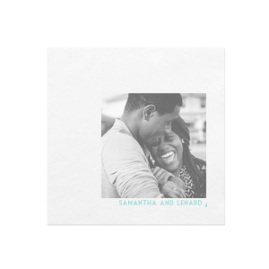 The ever-popular White Borderless Photo/Full Color Cocktail Napkin with Matte Tiffany Blue Ink Digital Print Colors has a Wedding Rings 2 graphic and is good for use in Wedding themed parties and will impress guests like no other. Make this party unforgettable.