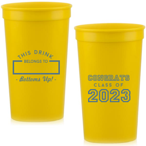 Our beautiful custom Yellow 16 oz Stadium Cup with Matte Stone Blue Ink Cup Ink Colors will add that special attention to detail that cannot be overlooked.