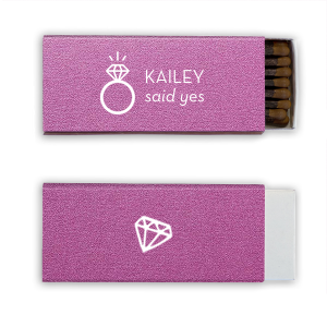 ForYourParty's elegant Stardream Plum Classic Matchbox with Matte White Foil Color and Shiny Leaf Foil Color has a Diamond Ring graphic and a Diamond Pattern graphic and is good for use in Engagement, Wedding themed parties and will add that special attention to detail that cannot be overlooked.