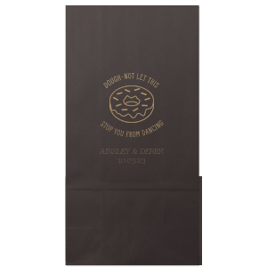 Our personalized Black Party Bag with Shiny Champagne Foil has a Donut graphic and is good for use in Food, Birthday and Brunch, themed parties and can be customized to complement every last detail of your party.