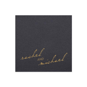 Our custom White Linen Like Cocktail Napkin with Satin 18 Kt. Gold Foil can be personalized to match your party's exact theme and tempo.