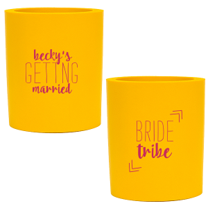 Personalized Yellow Flat Can Cooler with Matte Fuchsia Ink Cup Ink Colors can be customized to complement every last detail of your party.