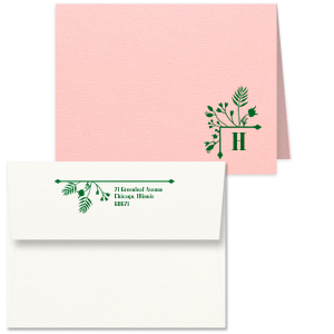 Our beautiful custom Poptone Ballet Pink Classic Note Card with Envelope with Shiny Kiwi / Lime Foil has a Garden Flourish graphic and is good for use in Garden themed parties and will impress guests like no other. Make this party unforgettable.
