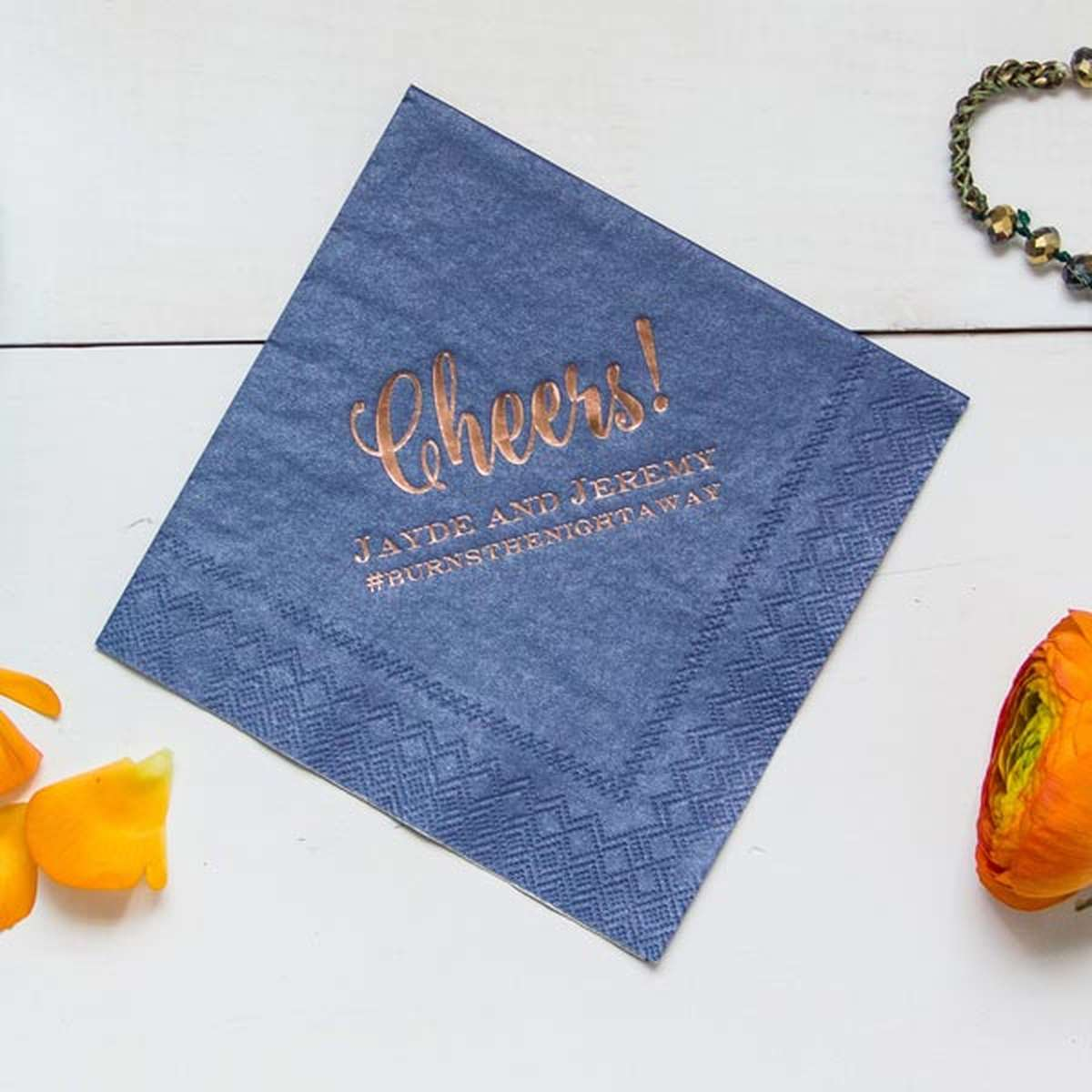 shimmer personalized cocktail napkins