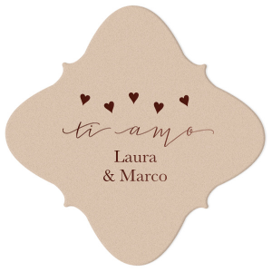Our beautiful custom Kraft with Blush back Nouveau Coaster with Shiny Merlot Foil Color has a Ti Amo graphic and is good for use in Words themed parties and will look fabulous with your unique touch. Your guests will agree!