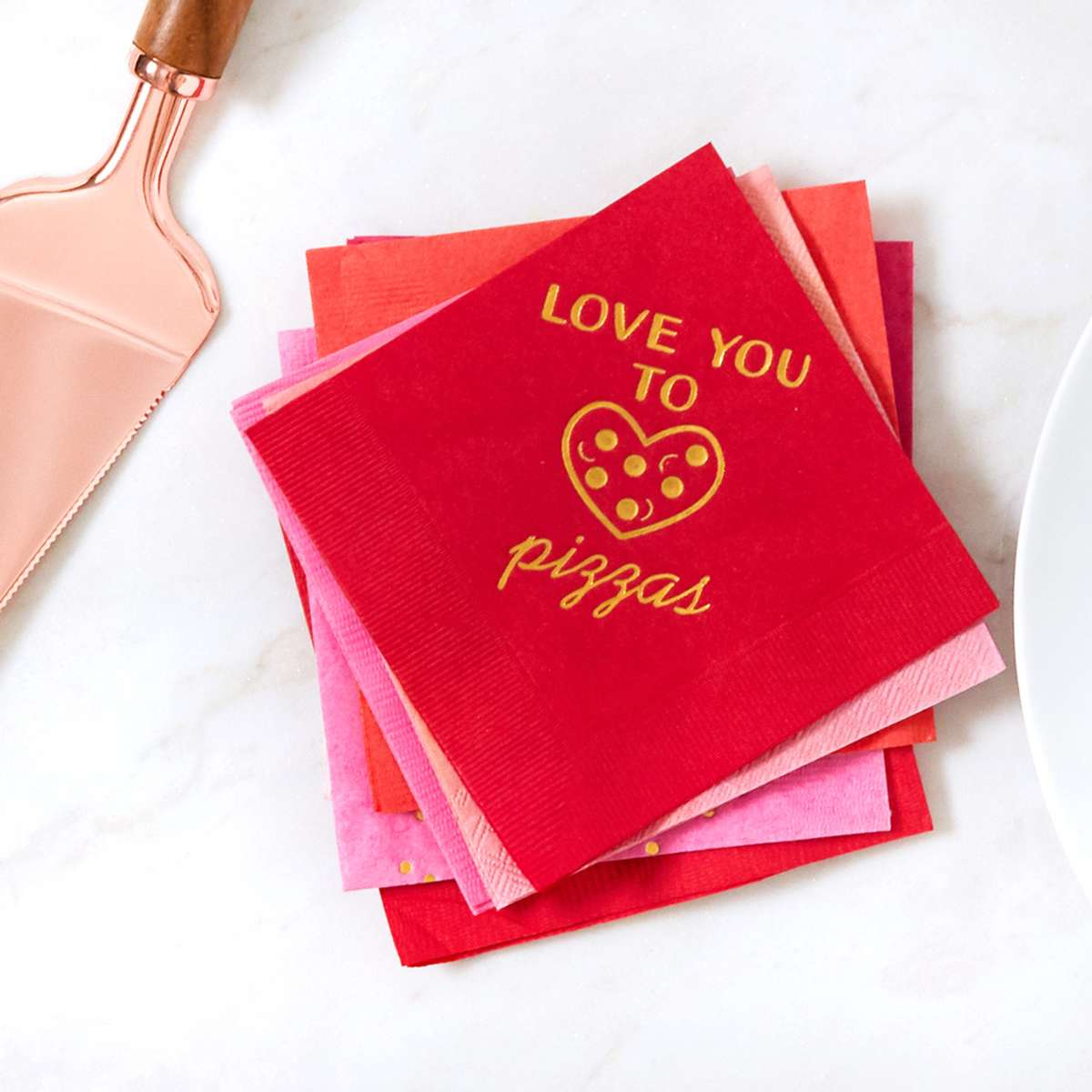 love you to pizzas custom party cocktail napkin