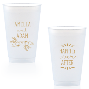 Our beautiful custom Gold Ink 14 oz Frost Flex Cup with Gold Ink Cup Ink Colors has a Twig Banner graphic and is good for use in Wedding, Floral themed parties and will add that special attention to detail that cannot be overlooked.