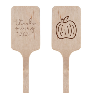 Our custom Matte Chocolate Round Stir Stick with Matte Chocolate Foil has a Pumpkin graphic and is good for use in Thanksgiving, Halloween themed parties and will give your party the personalized touch every host desires.