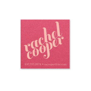 Our beautiful custom Stardream Fuschia Square Business/Calling Card with Matte Pastel Pink Foil can't be beat. Showcase your style in every detail of your party's theme!