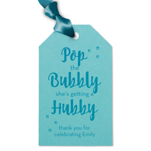 Say thank you with a bottle of bubbly to go, tied with this adorable personalized gift tag. Just choose your bridal shower or bachelorette theme colors and add the bride's name for a lovely hostess touch!