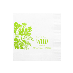 Personalize this tropical inspired cocktail napkin for a gorgeous detail at your best friend's bachelorette party. Stick with the shades of green foil for this party napkin choose your own color combination. Add an upbeat and fun saying for a personal touch fitting for your event.