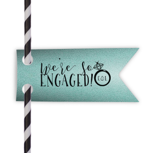 Personalized Stardream Tiffany Blue Double Point Straw Tag with Matte Black Foil Color has a Diamond Ring graphic and is good for use in Fashion, Wedding, Bridal Shower themed parties and will give your party the personalized touch every host desires.