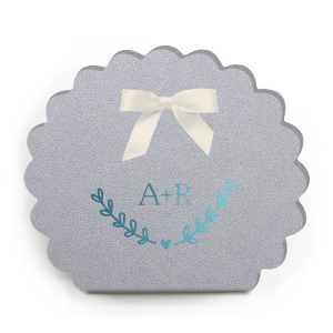 Our custom Stardream Silver Scalloped Box with Shiny Turquoise Foil has a Heart Branch graphic and is good for use in Hearts, Love, Wedding themed parties and will give your party the personalized touch every host desires.