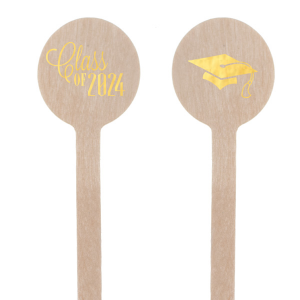 Personalized Shiny 18 Kt Gold Round Stir Stick with Shiny 18 Kt Gold Foil Color has a Cap graphic and is good for use in Graduation themed parties and will add that special attention to detail that cannot be overlooked.