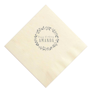 Our custom Ivory Luncheon Napkin with Matte Slate Gray Foil Color has a Leaf Frame graphic and is good for use in birthday themed parties and can't be beat. Showcase your style in every detail of your party's theme!