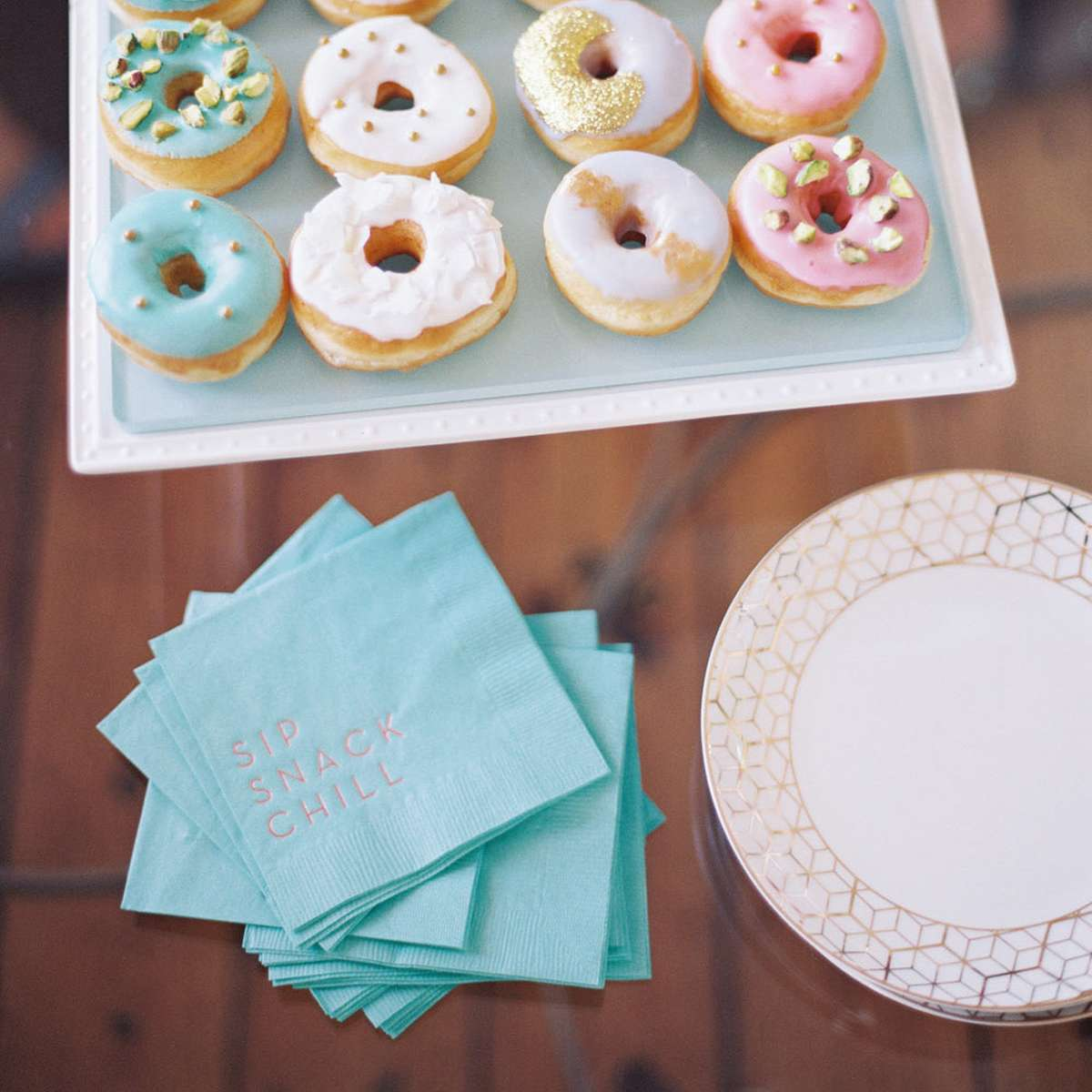 how to decorate for a dessert party with personalized cocktail napkins