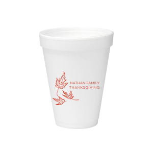 Our personalized 12 oz Styrofoam Cup with Matte Poppy Ink Cup Ink Colors has a Three Leaves graphic and is good for use in Holiday and Thanksgiving themed parties and couldn't be more perfect. It's time to show off your impeccable taste.