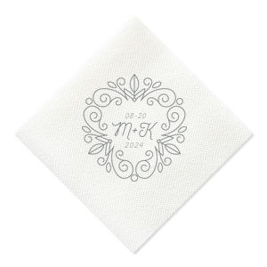 Add the perfect touch to your rehearsal dinner or wedding bar with this elegant personalized cocktail napkin. Stamp your initials and wedding date within the floral line frame for a lovely, traditional detail.