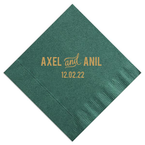The ever-popular Spruce Cocktail Napkin with Satin 18 Kt. Gold Foil has a Accent And 2 graphic and is good for use in Accents, Words, Wedding themed parties and can be customized to complement every last detail of your party.