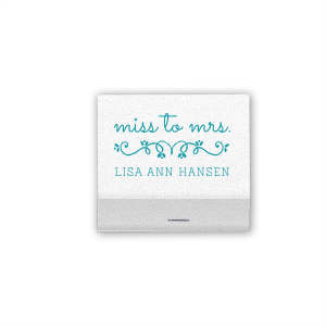 Our custom Crystal White Shimmer 30 Strike Matchbook with Matte Teal/Peacock Foil Color has a Budding Flourish graphic and is good for use in Wedding themed parties and can be customized to complement every last detail of your party.