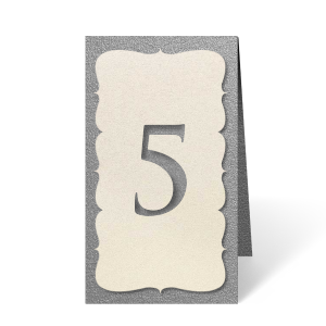 Organize your reception seating with custom table numbers that match your decor beautifully. These shadow cut numbers with a classic nouveau trim will be an elegant completion to your tables. Simply choose your theme colors!