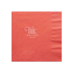 Personalize this adorable Light Coral napkin. The hand lettered script and leaves will go perfectly with the signature cocktail at any rehearsal dinner. Custom napkins are the detail that turn your event from just another wedding to the one guests remember.