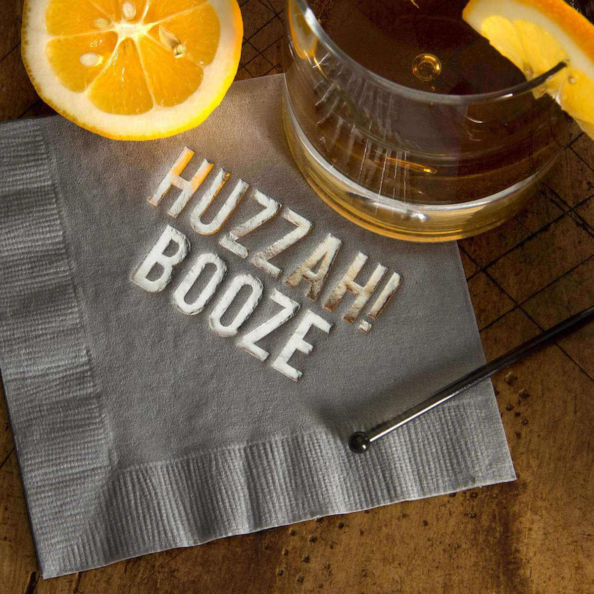 Bourbon Neat with Personalized Cocktail Napkin