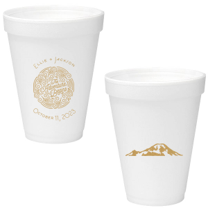 Our beautiful custom Gold Ink 12 oz Foam Cup with Gold Ink Screen Print has a Adventure Swirl graphic and is good for use in Wedding themed parties and can't be beat. Showcase your style in every detail of your party's theme!