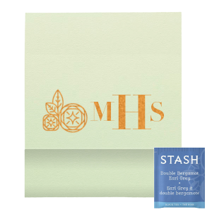 "Monogram Geo Flower Tea Favor - Copper foil - Personalized - Set of 50 - 2.75 x 2.375"""" by ForYourParty.com"