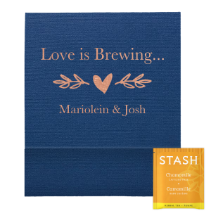 Our custom Linen Navy Blue Tea Favor with Shiny Rose Gold Foil has a Leaf Heart Accent graphic and is good for use in Bridal, Hearts, Wedding themed parties and will impress guests like no other. Make this party unforgettable.