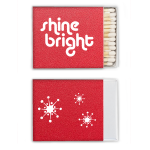 Our custom Glitter Cherry Red Classic Matchbox with Matte White Foil has a Shine Bright graphic and a Retro Stars graphic and is good for use in Trendy, Stars, Accents themed parties and will make your guests swoon. Personalize your party's theme today.