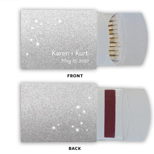 The ever-popular Natural White 30 Strike Matchbook with Shiny Turquoise Foil has a Starry Night graphic and a Aztec Pattern graphic and is good for use in Accents, Full Bleed, Southwestern themed parties and will make your guests swoon. Personalize your party's theme today.