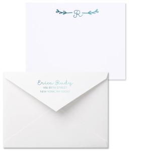 ForYourParty's personalized Natural Frost White Grande Note Card with Envelope with Shiny Turquoise Foil has a Leaf Single Initial graphic and is good for use to personalize your stationary and will add that special attention to detail that cannot be overlooked.