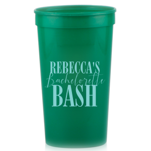 ForYourParty's personalized Teal 16 oz Stadium Cup with Matte Chartreuse Ink Cup Ink Colors couldn't be more perfect. It's time to show off your impeccable taste.