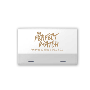 ForYourParty's elegant Shiny White 40 Strike Matchbook with Shiny Champagne Foil can be personalized to match your party's exact theme and tempo.