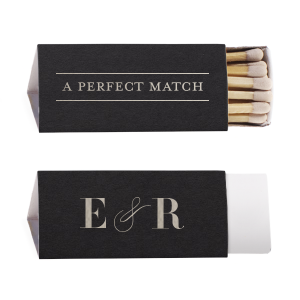 Our custom Natural Black Lipstick Matchbox with Shiny Sterling Silver Foil Color will make your guests swoon. Personalize your party's theme today.
