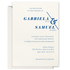 Our beautiful custom Lettra Pearl White 110lb Invitation with Satin French Blue Foil has a Accent Ampersand graphic and is good for use in Couple, Wedding themed parties and will make your guests swoon. Personalize your party's theme today.