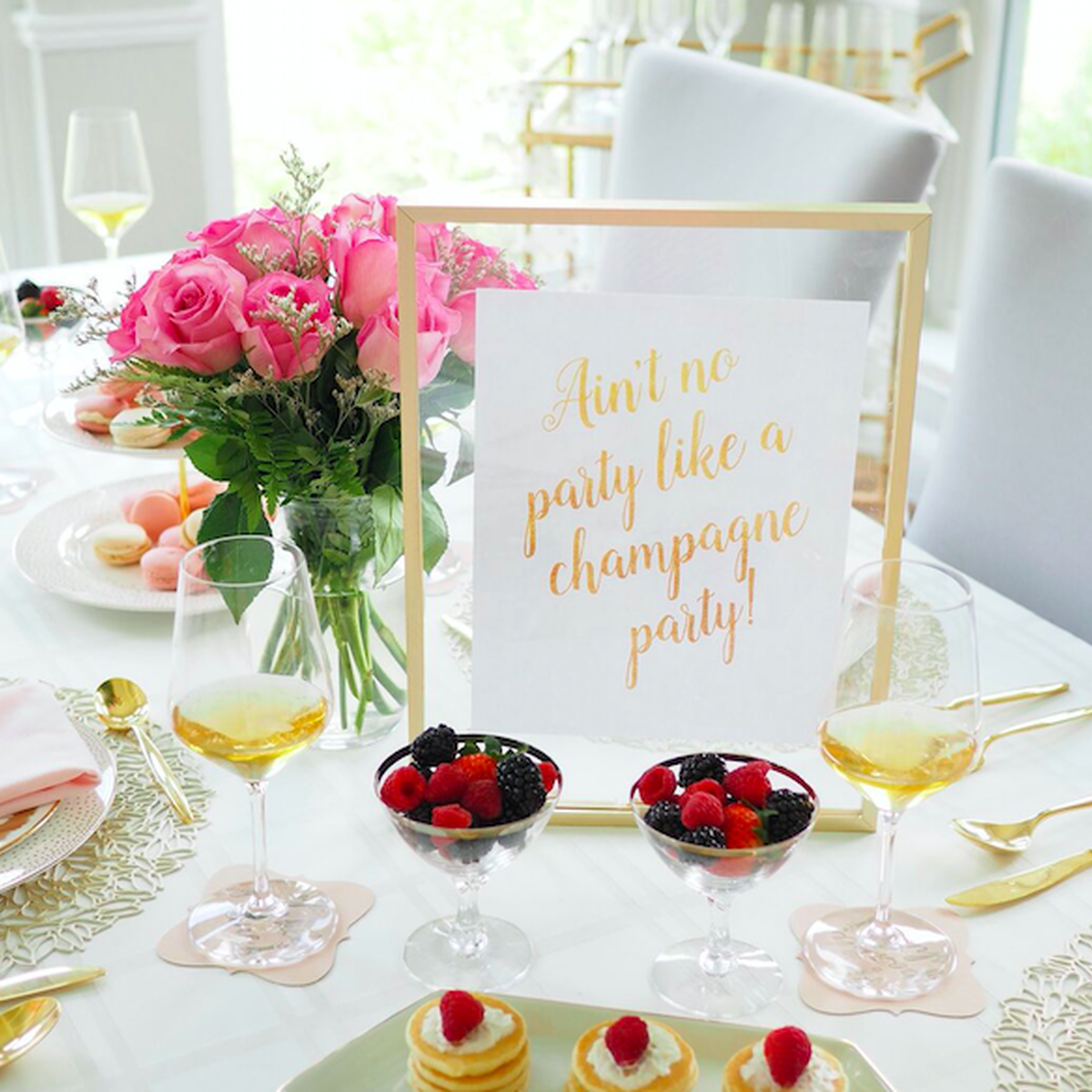 custom champagne party supplies