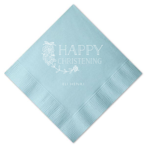 ForYourParty's elegant Sky Blue Cocktail Napkin with Matte White Foil has a Peony Flourish graphic and is a lovely choice for Christening,  and Baptism parties and will add that special attention to detail that cannot be overlooked.