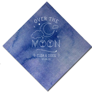 Our beautiful custom Watercolor Nightfall Patterned Cocktail Napkin with Matte White Foil has a Night Sky and is good for use in Baby Shower Wedding and other celebration themed parties and will give your party the personalized touch every host desires.