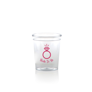 ForYourParty's elegant Matte Fuchsia Ink Plastic Shot Glass with Matte Fuchsia Ink Print Color has a Diamond Ring graphic and is good for use in Wedding themed parties and will add that special attention to detail that cannot be overlooked.