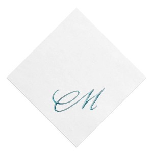 The ever-popular White Borderless Foil Embossed Cocktail Napkin with Shiny Turquoise Foil can be customized to complement every last detail of your party.